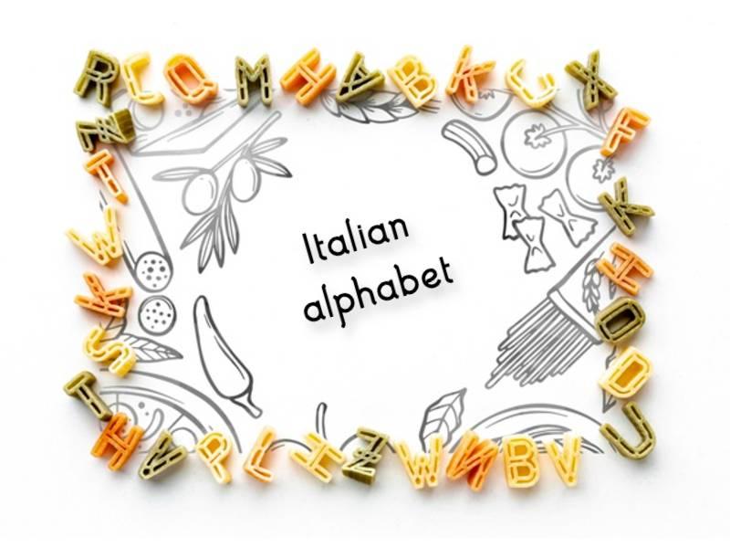 Italian alphabet with pasta
